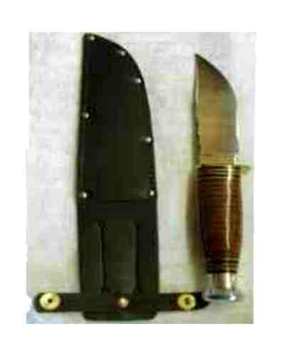 "4.75"" Broad Blade Skinning Knife w/ Leather Handle Whittle Tang"