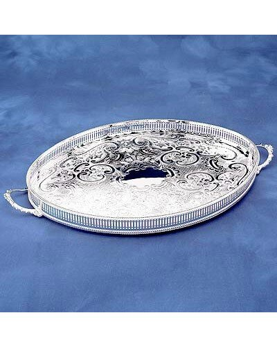 "Gallery Tray - 18"" Oval-Mounted With Handles"
