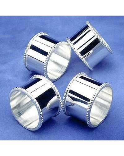 Mounted Napkin Rings With A Bead Design Border (4)