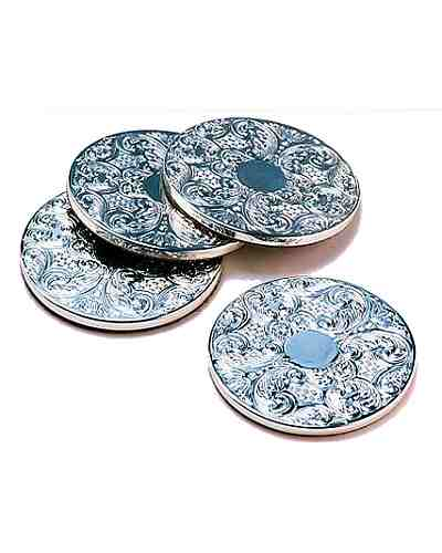 Drinks Mats, Set Of 4 (Silver Plate)