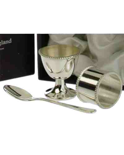 Egg Cup, Napkin Ring and Spoon Child's Set