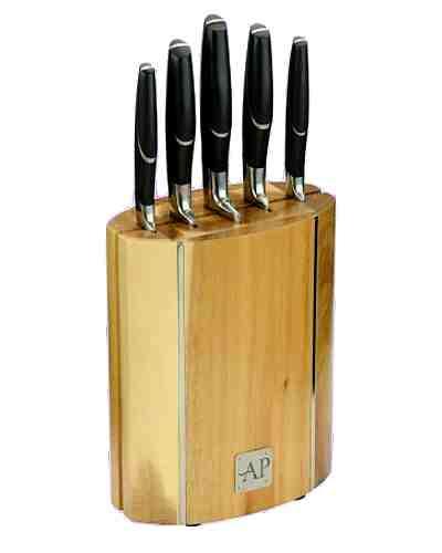 6 Piece Oval Wooden Knife Block Set
