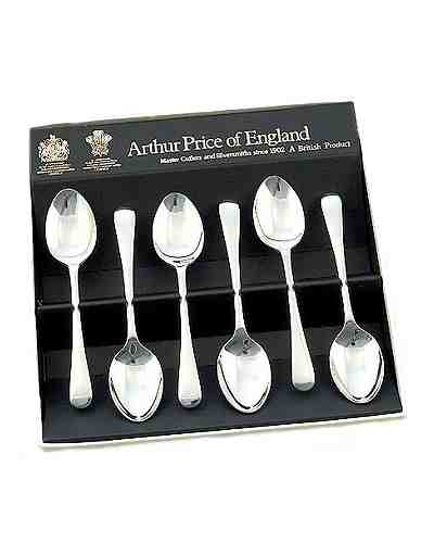 "Tea Spoons (5"") In Gift Box (6) APoE Stainless Steel Baguette"
