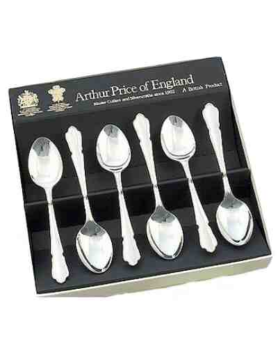 "Tea Spoons (5"") In Gift Box (6) - APoE Sov. Silver Plate Dubarry"