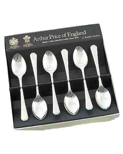 "Tea Spoons (5"") In Gift Box (6) APoE Stainless Steel Grecian"