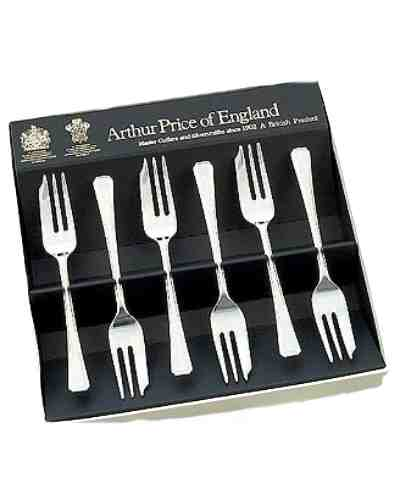 Pastry Forks In Gift Box (6) APoE Sovereign Silver Plate Harley