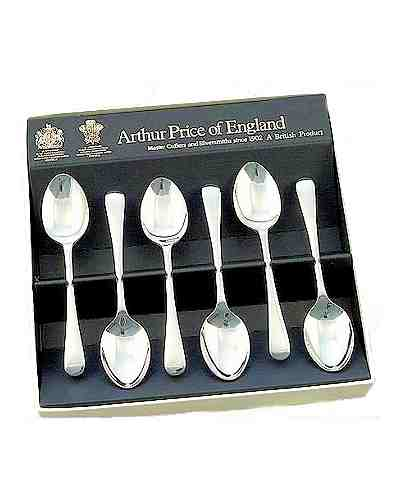 "6 Tea Spoons (5"") Gift Box APoE 25 Yr Silver Plate Old English"