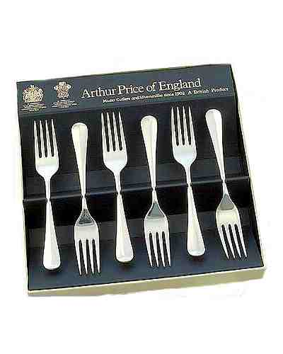 Tea / Fruit Forks In Gift Box (6) APoE S/Steel Rattail