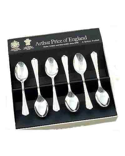 "Tea Spoons (5"") In Gift Box (6) APoE Sovereign Silver Plate R. P"