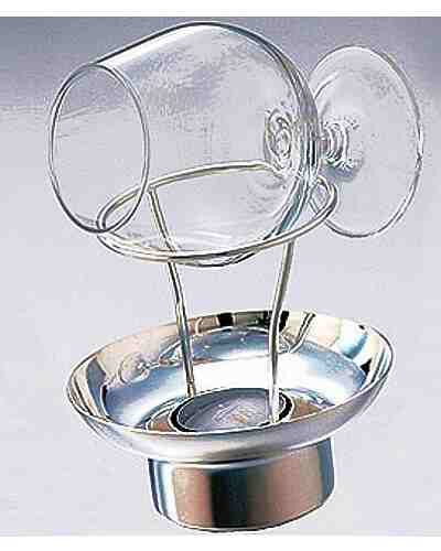 Brandy Warmer & Glass (Contemporary, Silver Plate)