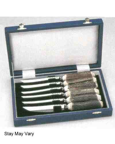 Steak Knives x 6 Plain, Natural Stag - in Wooden Case 70011